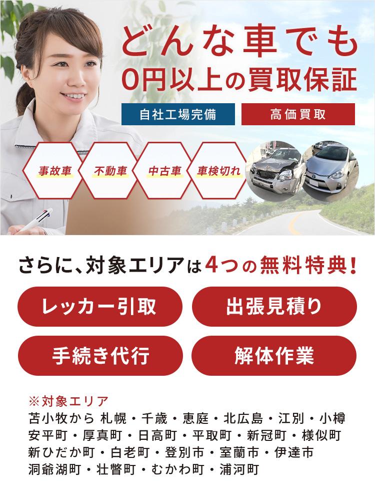 どんな車でも0円以上の買取保証対象エリアは無料!レッカー取引、出張見積もり、手続き代行、解体作業